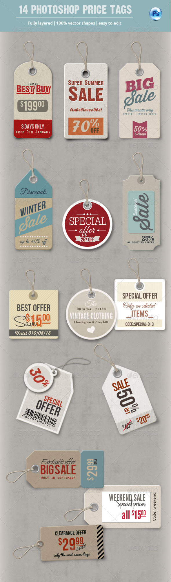 14 Photoshop Price Tags - Miscellaneous Web Elements