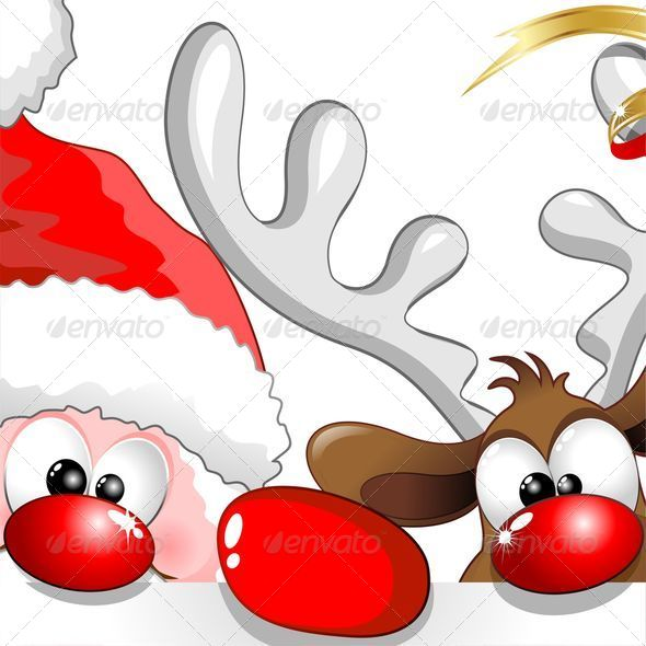 GraphicRiver Christmas Santa and Reindeer Cartoon 5636544