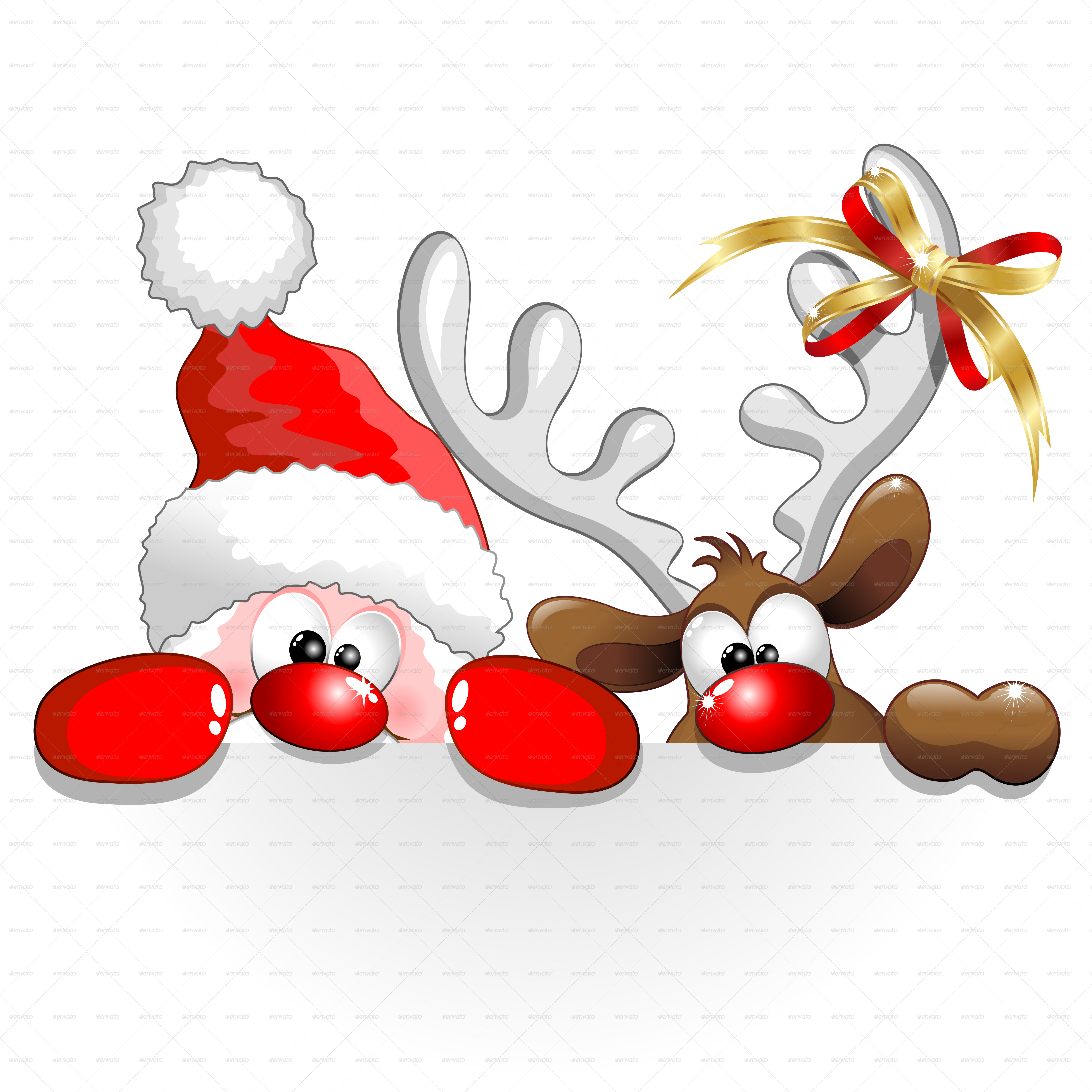Christmas santa and reindeer cartoon by bluedarkat graphicriver