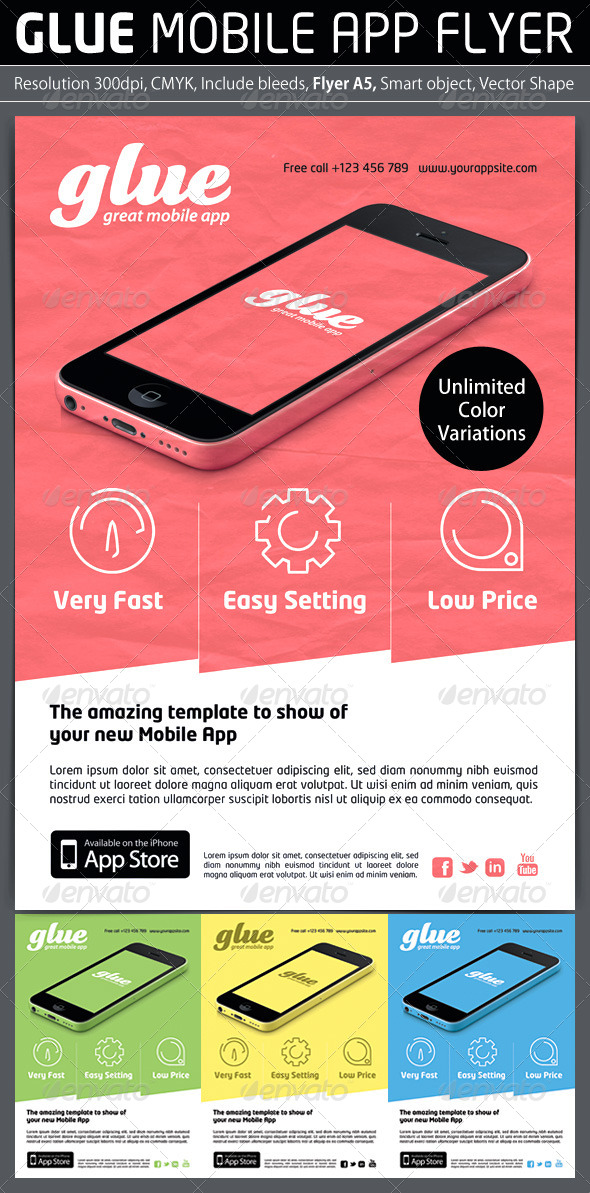 GraphicRiver Glue Mobile App Promotion Flyer 5636675
