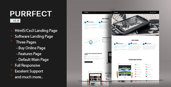 Purrfect - Software Html5/Css3 Landing Page