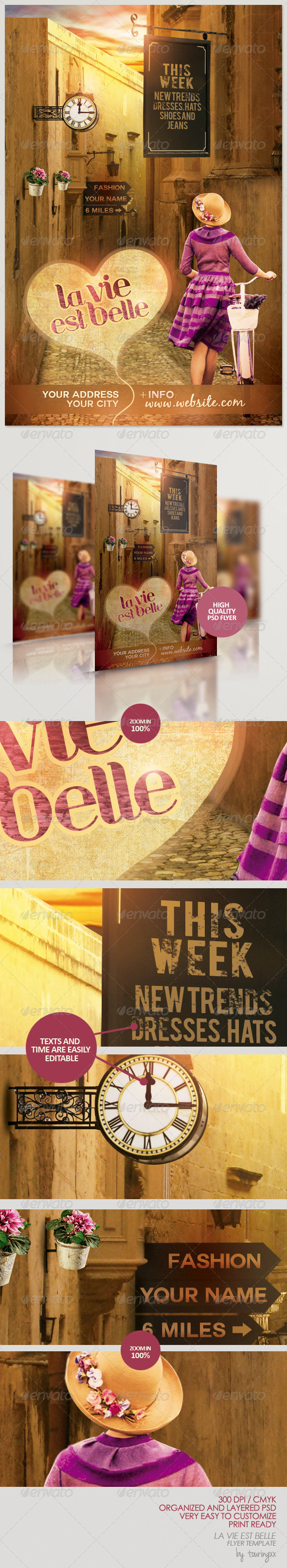 La Vie Est Belle Flyer Template - Print Templates
