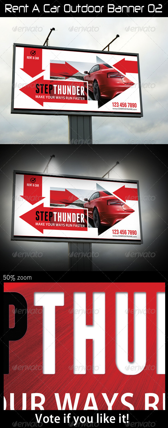 Rent A Car Outdoor Banner 02 - Signage Print Templates
