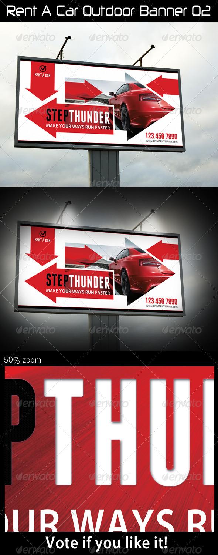 Rent A Car Outdoor Banner 02 - Signage Print Templates