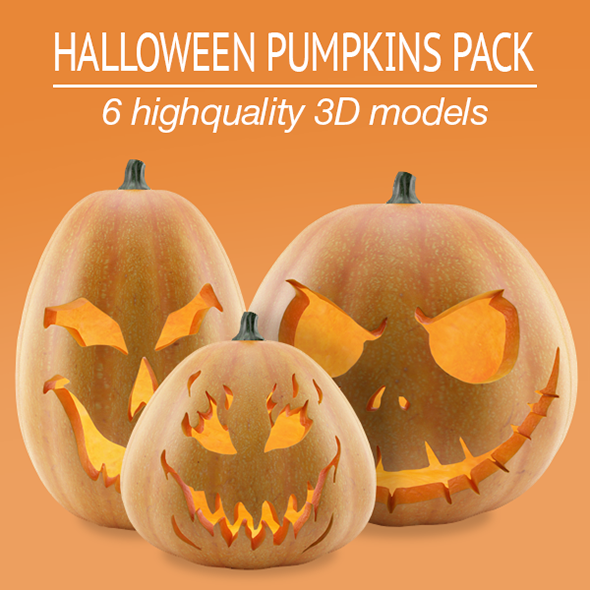 3DOcean Halloween Pumpkins Pack 5637852