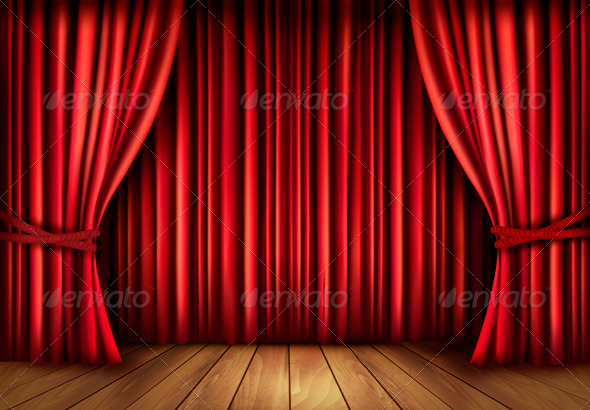 GraphicRiver Background with Red Velvet Curtain and a Wooden Floor 5637940