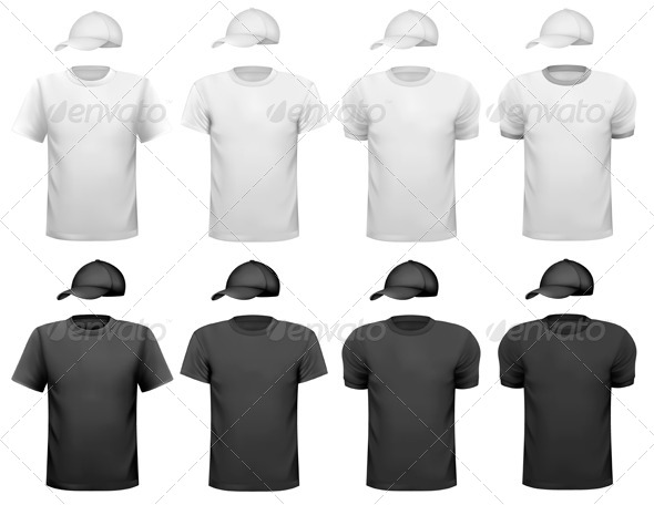 GraphicRiver Black and White Men T-Shirt and Cap 5638204