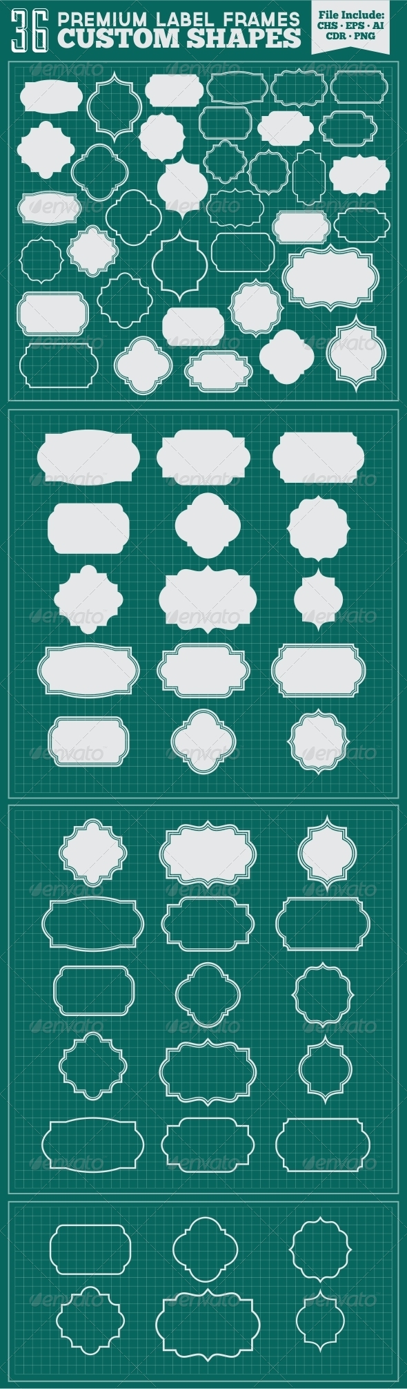 GraphicRiver 36 Premium Label Frames Custom Shapes 5638215