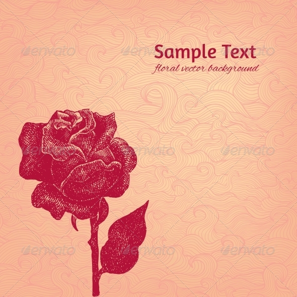 GraphicRiver Vintage Vector Background with Stylized Ink Rose 5638516