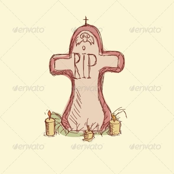 GraphicRiver R.I.P Vector illustration Headstone 5638939