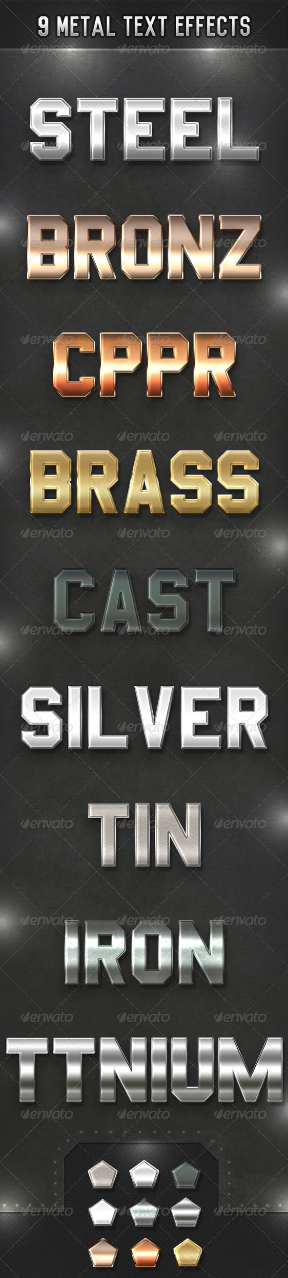 GraphicRiver Nine Metal Text Effects 5639352