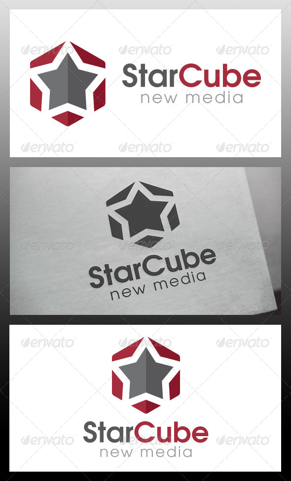 Star Cube Logo Template