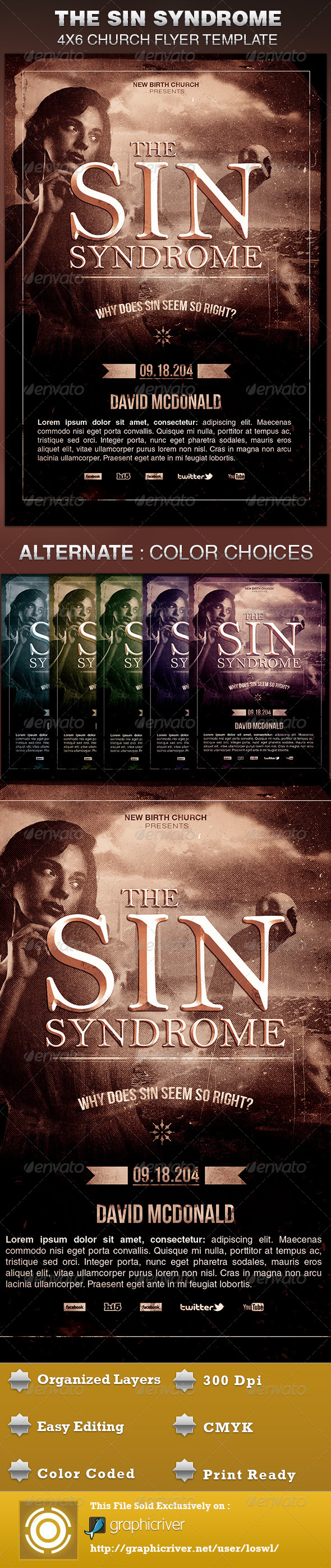 GraphicRiver The Sin Syndrome Church Flyer Template 5639865