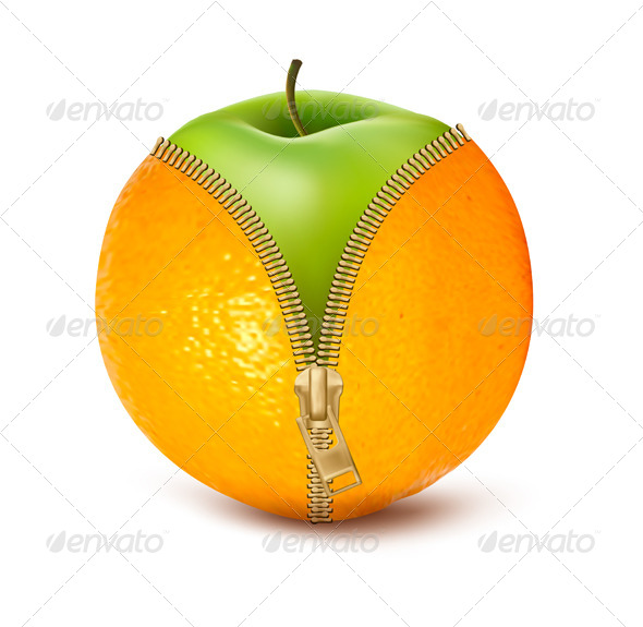 Unzipped Orange with Green Apple Fruit and Diet