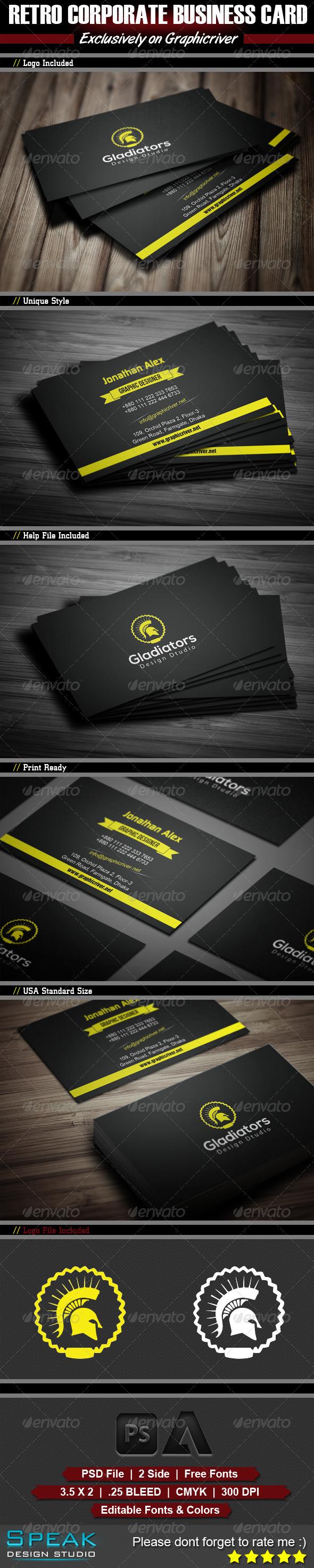GraphicRiver Retro Corporate Business Card Design 5640673