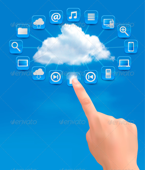 GraphicRiver Cloud Computing Concept Background with Hand 5640680