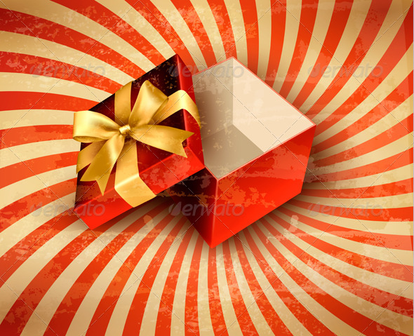 GraphicRiver Holiday Background with Red Gift Ribbon with Box 5640697
