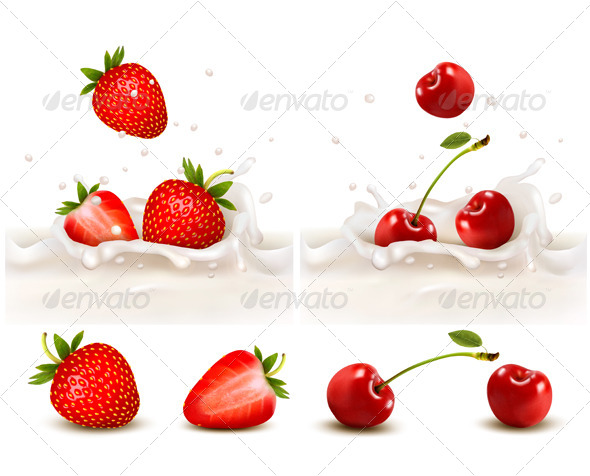 GraphicRiver Red Strawberry and Cherries Fruits 5640698