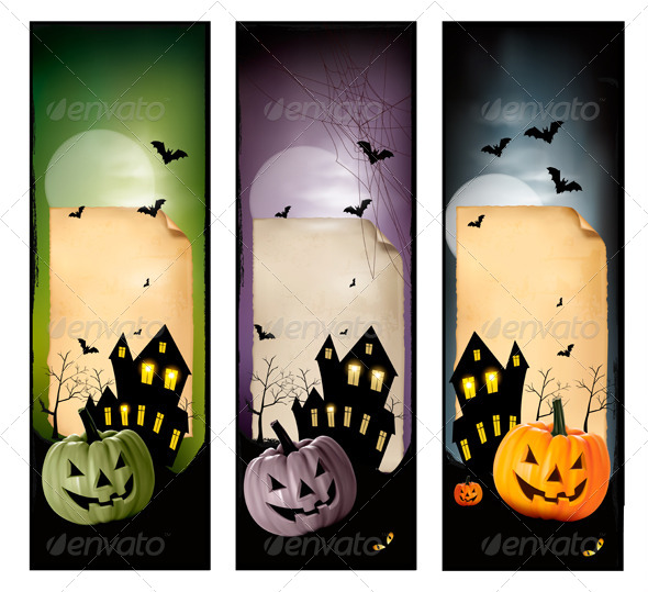 GraphicRiver Set of Holiday Halloween Banners Vector 5640716