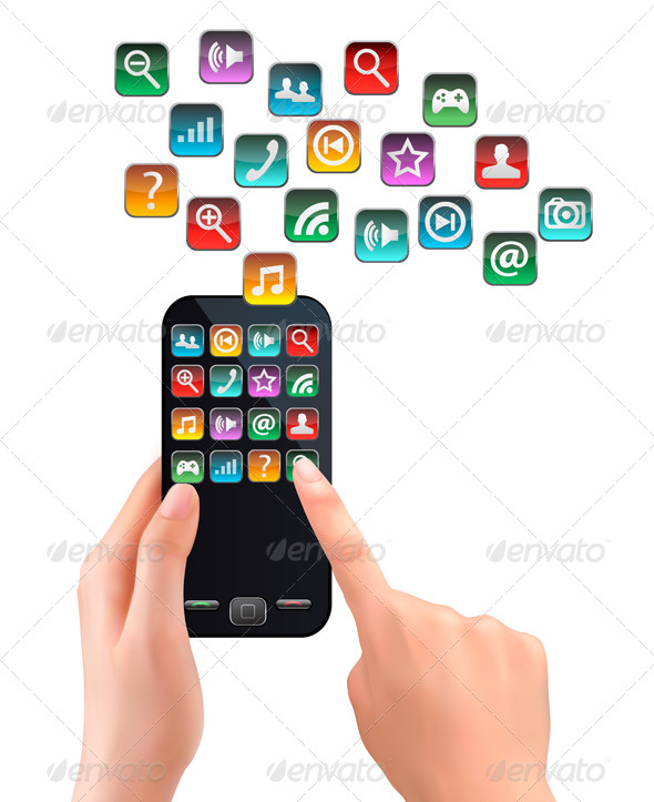 GraphicRiver A Hand Holding Touchscreen Mobile Phone with Icons 5640736