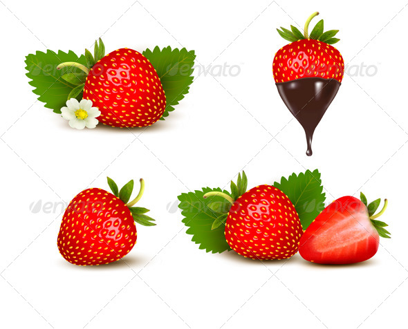 GraphicRiver Set of Ripe Sweet Strawberry and Flower 5640779