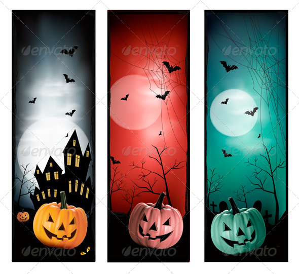 GraphicRiver Set of Holiday Halloween Banners Vector 5640781