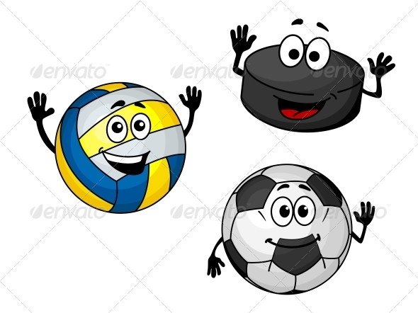 GraphicRiver Hockey Puck Volleyball and Soccer Balls 5641000