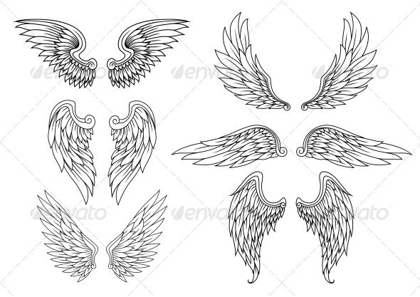 GraphicRiver Heraldic Wings Set 5641059