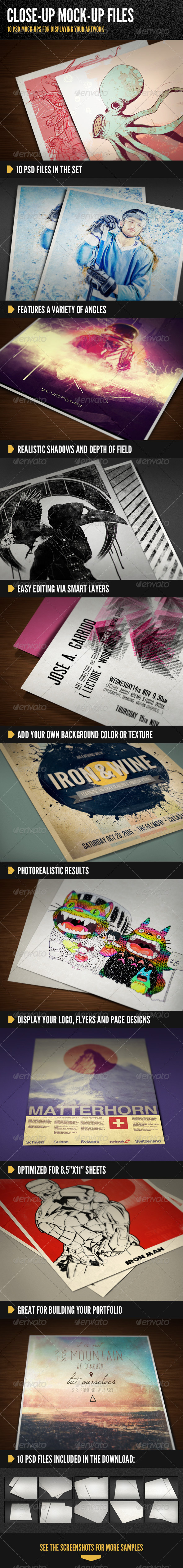Close Up Print Mock-Ups - Miscellaneous Print