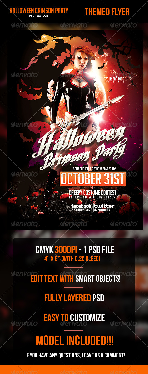 GraphicRiver Halloween Crimson Party Flyer Template 5641222