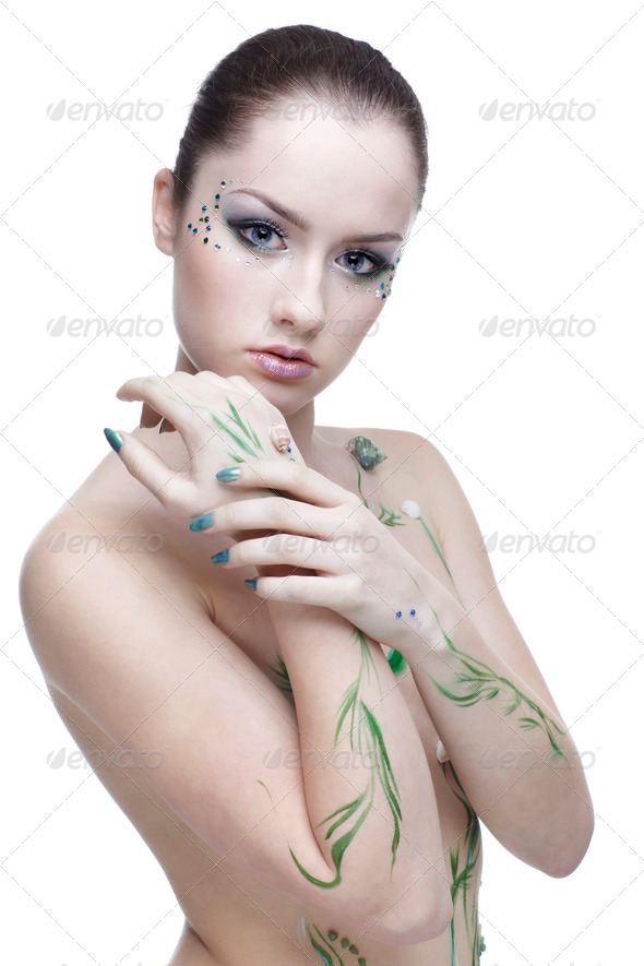 beautiful mermaid girl - Stock Photo - Images