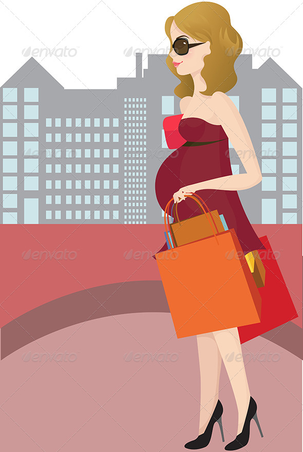 GraphicRiver Shopping Pregnant Woman 5641863