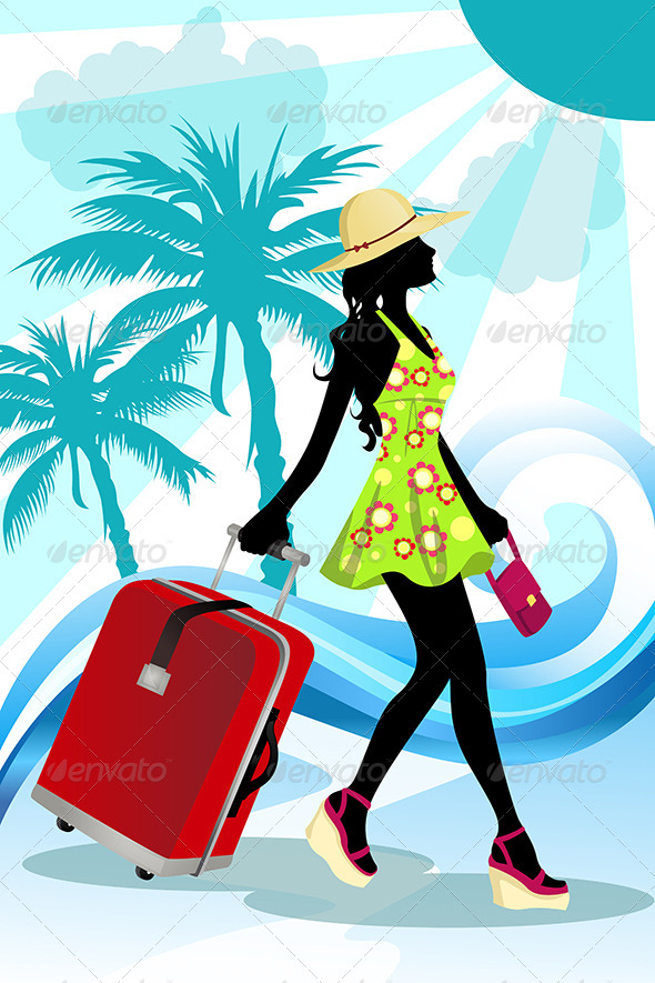 GraphicRiver Summer Traveling Woman 5641875