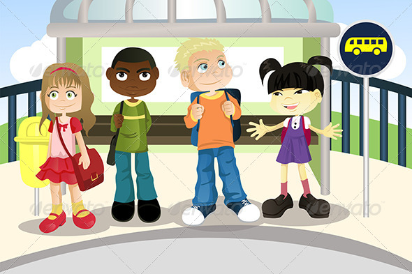 GraphicRiver Children at Bus Stop 5642106