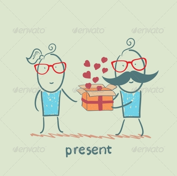 GraphicRiver A Person Gives a Gift with Hearts 5642197