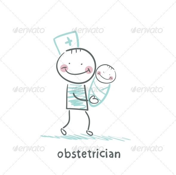 GraphicRiver Obstetrician with Baby 5642337