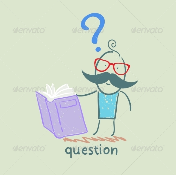 Man with a Question Mark Reads the Book