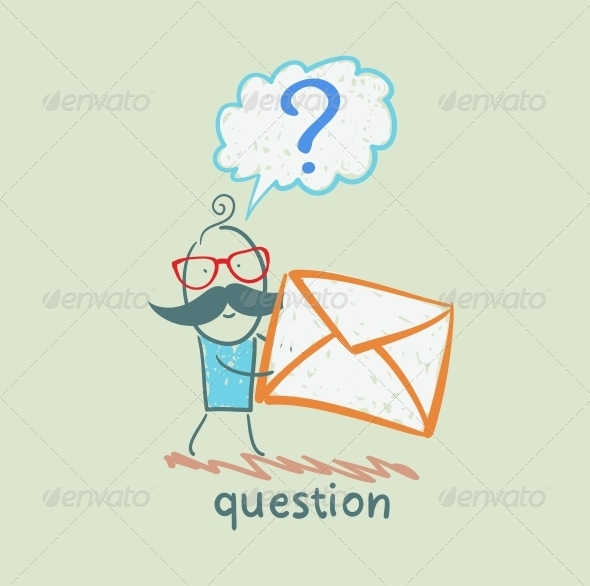 GraphicRiver Man with a Question Mark Holds an Envelope 5642501