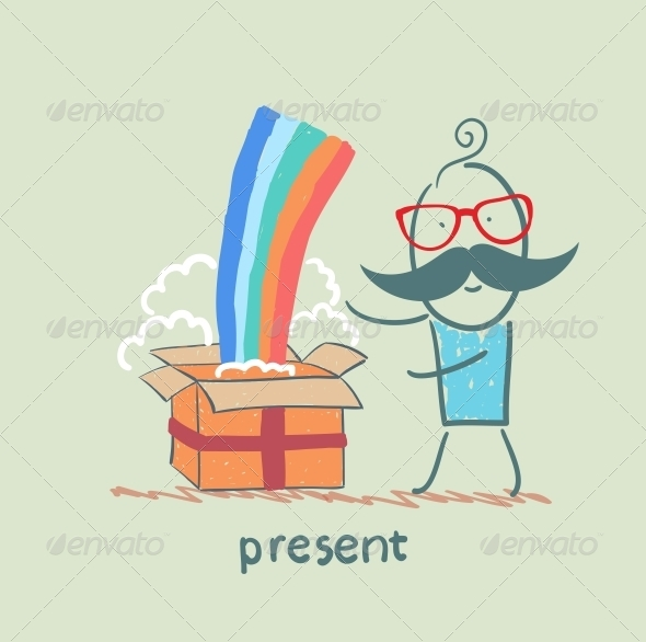 GraphicRiver Man Received a Gift with a Rainbow 5642537