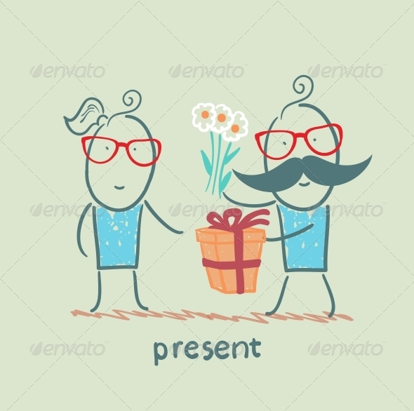 GraphicRiver A Person Gives a Gift of Flowers Girl 5642551