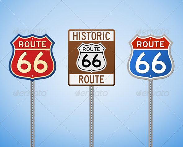 GraphicRiver Route 66 Vintage Signs 5642559