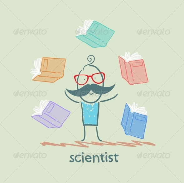 GraphicRiver Scientist with Books Around 5642609