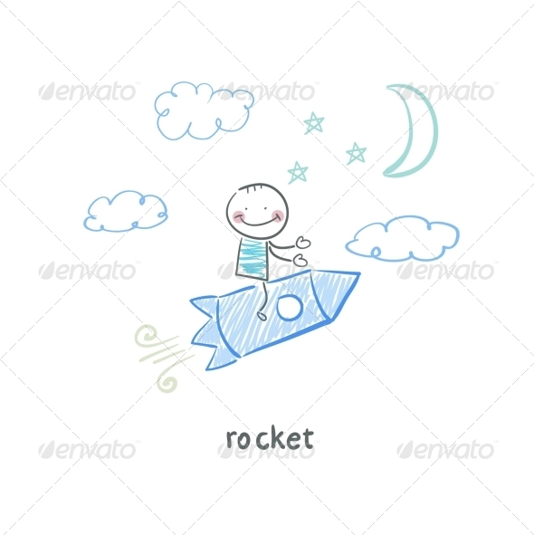 GraphicRiver Man on Rocket 5642624