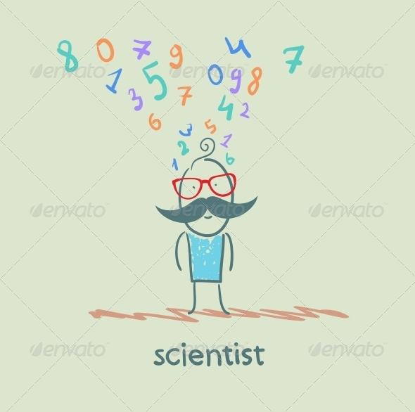 GraphicRiver Scientist Thinks About Numbers 5642638