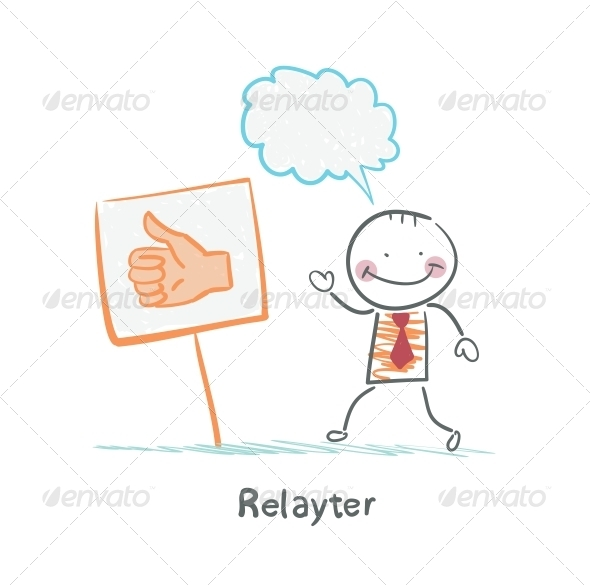 GraphicRiver Relayter Stands Next to a Thumbs Up Sign 5642670