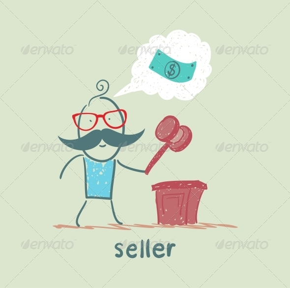 GraphicRiver Seller at the Auction with a Hammer 5642690