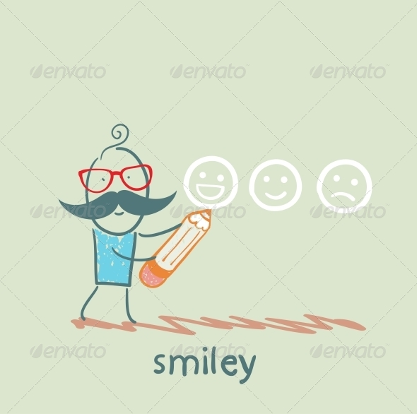 GraphicRiver Man with a Pencil Draws Smiles 5642707
