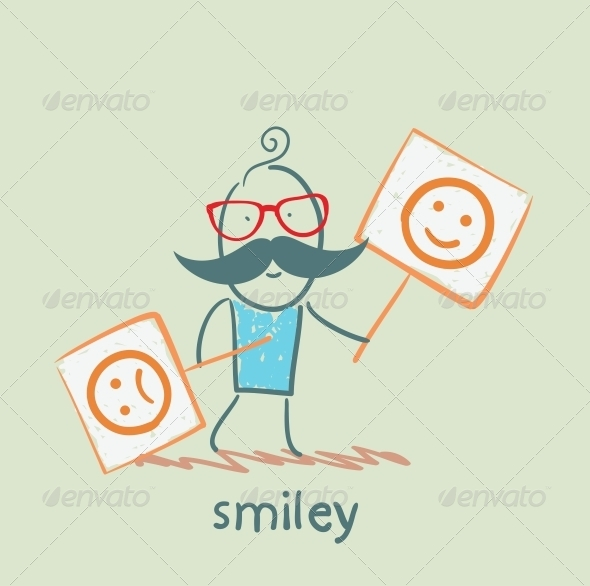 Person Holding Posters with Funny and Sad Smiles