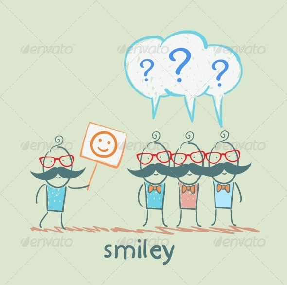 GraphicRiver Man Shows a Poster with a Smiley to Others 5642723