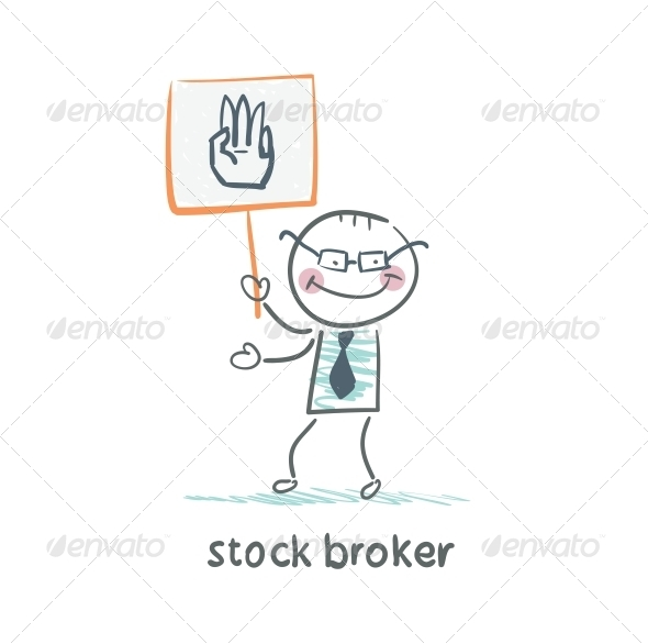 GraphicRiver Stock Broker Holding a Sign with His Hand 5642769